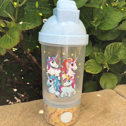 Blue Unicorn Drink and Snack Bottle in one