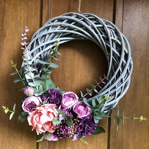 Handmade Artificial Floral Grey Willow Wreath