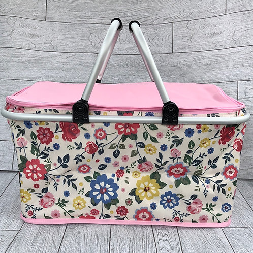 Pink and Floral Folding Picnic Hamper / Basket