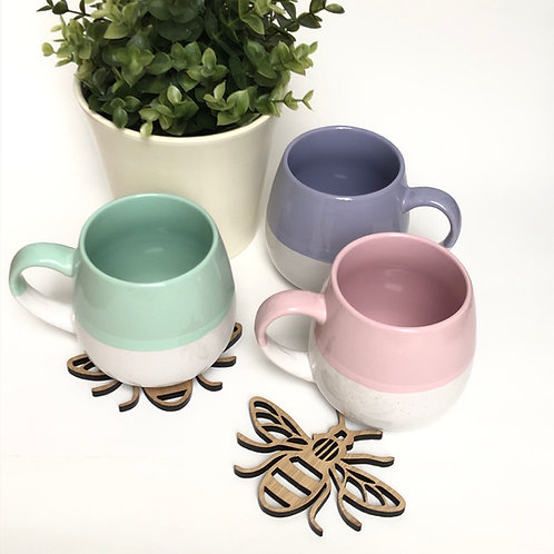 Set of 3 pastel two tone chunky mugs