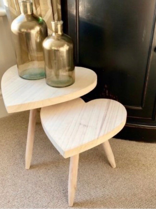Large Natural Wooden Heart Stool