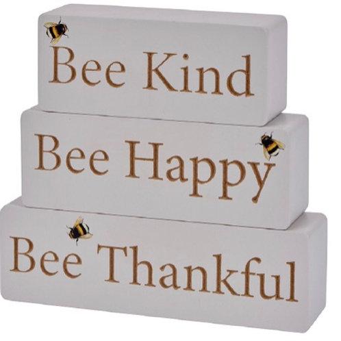 Bee Triple Wooden Block Ornament