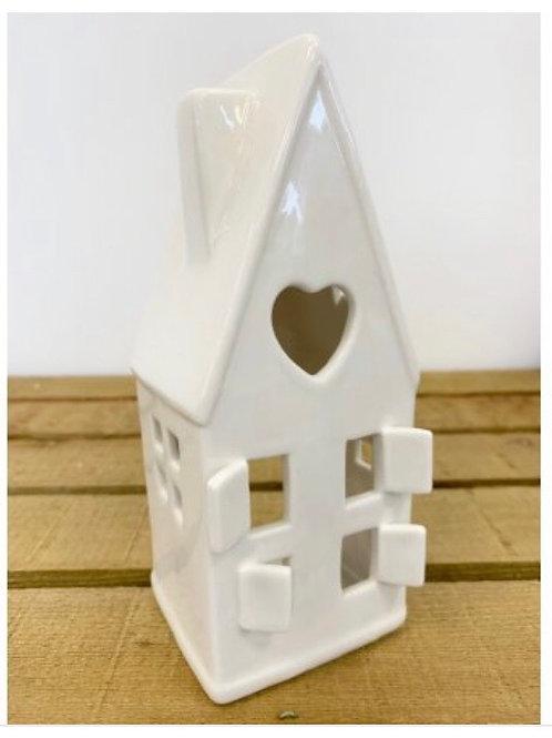 Heart White Ceramic T- light House