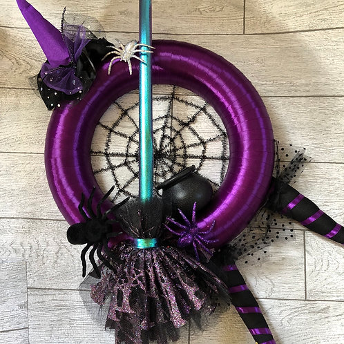 Handmade Halloween Witch Wreath