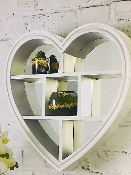 White Heart Mirror Shelf