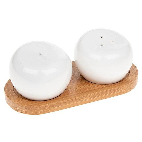 White Bamboo Round Shape Salt and Pepper  Set
