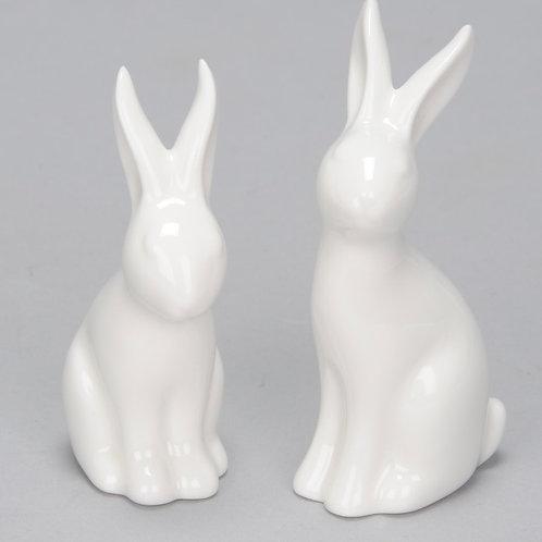 2 Ceramic White Rabbit ornaments