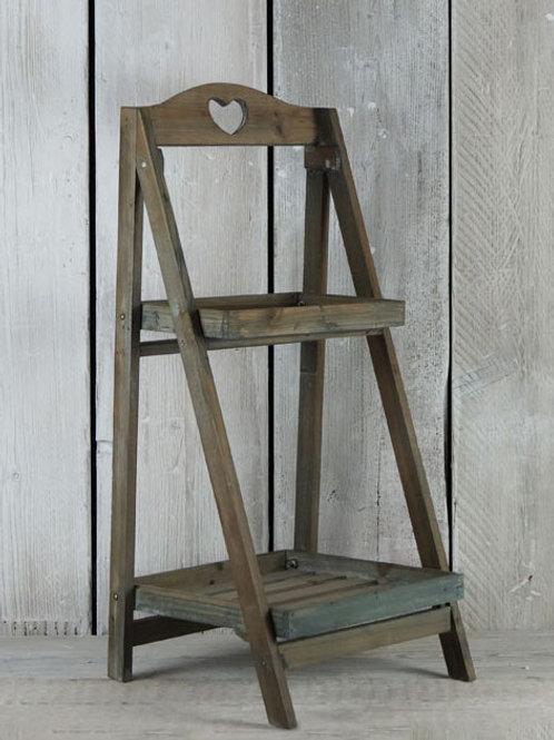 Rustic Dark Wooden Ladder Stand Shelf