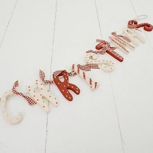 Christmas Red & White Wooden Garland