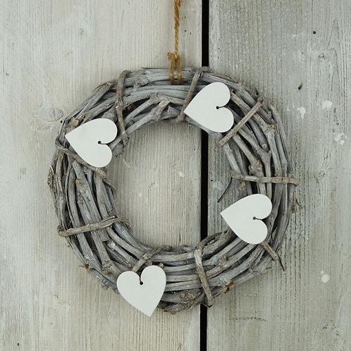 Whitewashed Heart Wreath 25cm