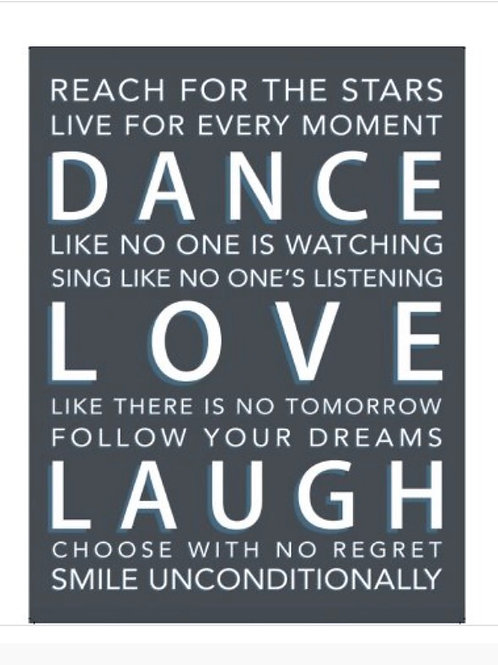Dance Love Laugh Extra Large Metal Sign