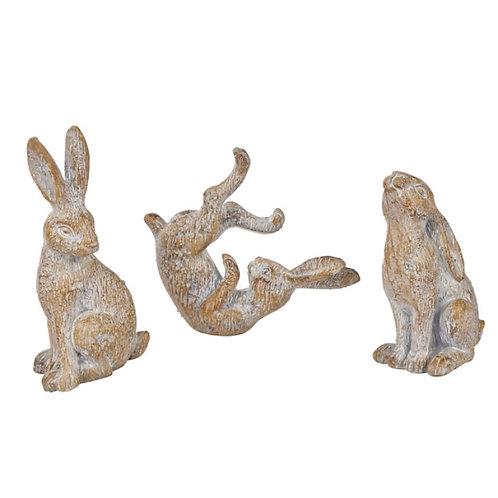 Set of 3 Mini Grey Hare Ornaments
