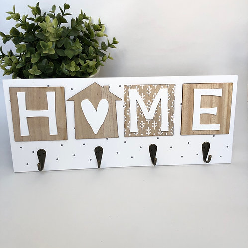 Shabby Chic HOME Plaque with Hooks