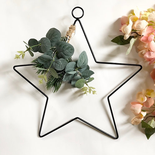 Black Wire Hanging LED Star