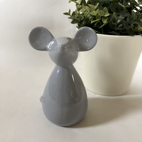 Small Grey Ceramic Mouse