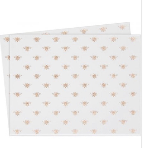 Gold Bees Mirrored Placemats, set of 2