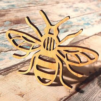 Set of 4 Wooden Bee Coasters
