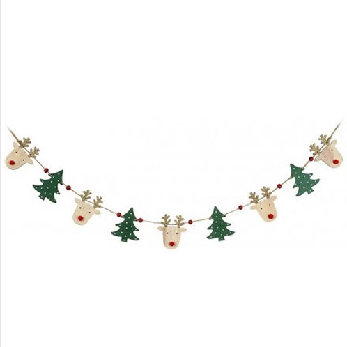 Wooden Reindeer and Tree Bunting