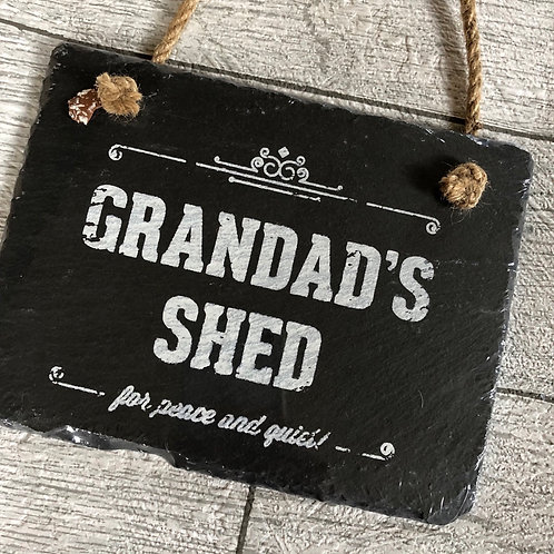 Grandad's Shed Slate Hanging Sign
