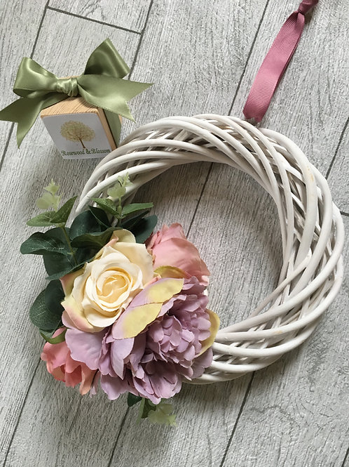 Bespoke White Willow Pastel Coloured Wreath