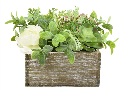 Artificial Flowers & Herb Arrangement in a Rustic Wooden Box