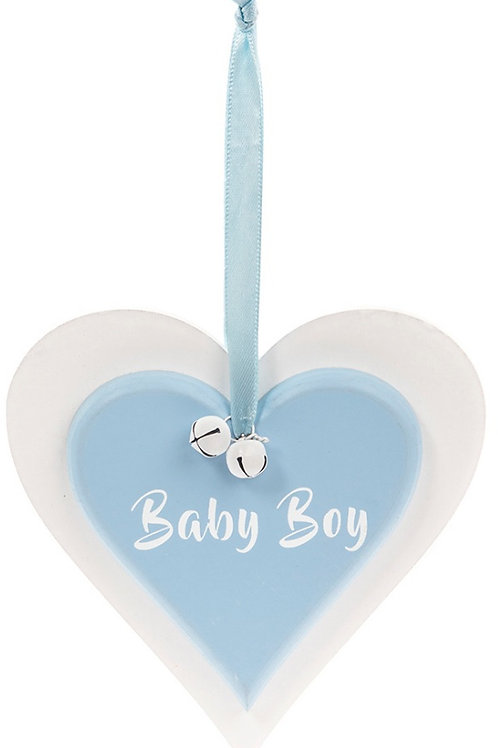 Double Heart Blue Plaque - Baby Boy