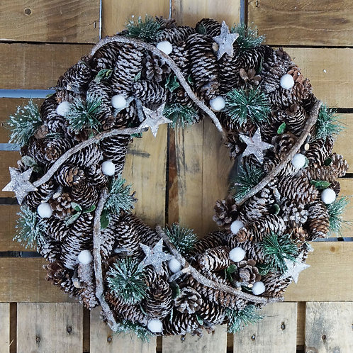 Frosted Berry Wreath with Pinecones