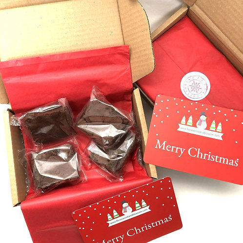 Personalised Christmas Card & Brownie Gift Box