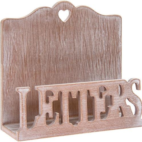 Limewashed Natural Wood Letter Rack