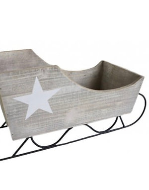Grey Wooden Sleigh with Star Detail