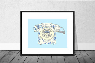 Vintage Telephone in Cream and Blue