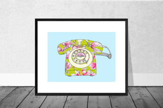 Vintage Telephone in Pink and Green