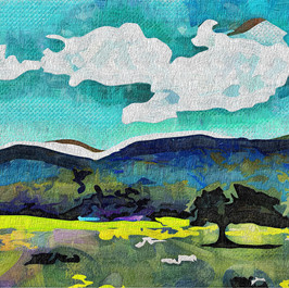 Two Trees and Mountains, Andalucia  This is one of my original photographs which I've modified with computer software to create the painterly effect.