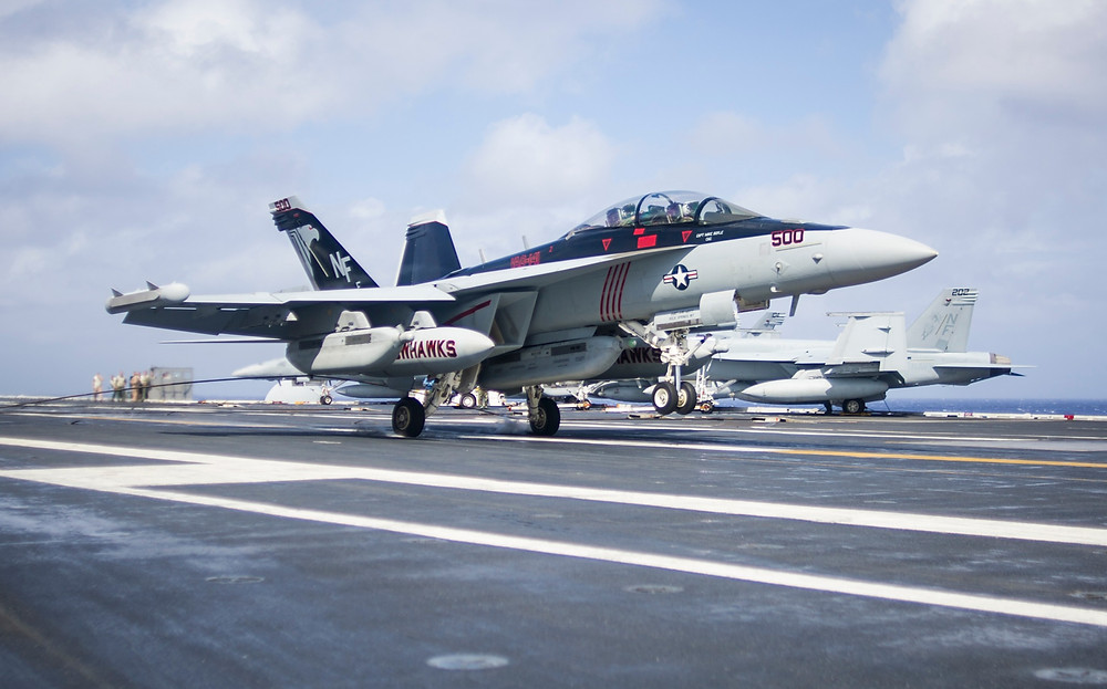 VAQ-141 EA-18G Growler catching a cable of the USS George Washington (CVN-73) - USN Navy Photo 2013