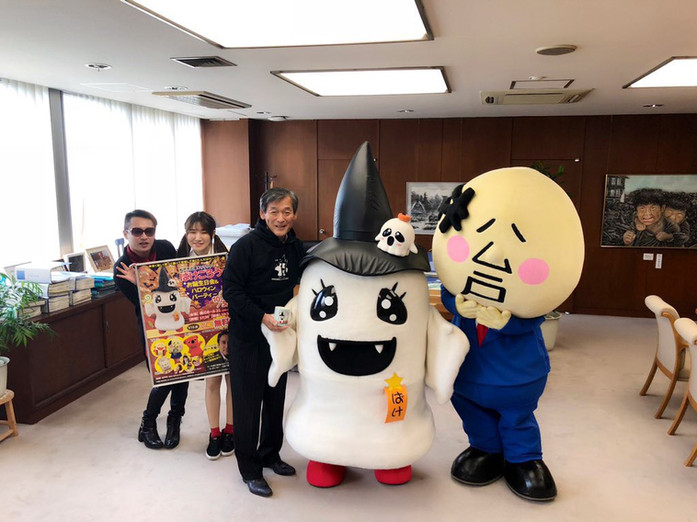 ばけごろうが松戸市長を表敬訪問