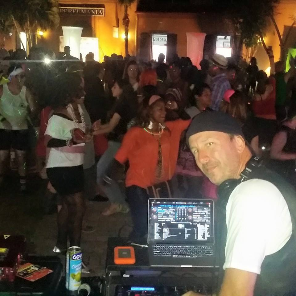 DJing an event in The Caribbean.