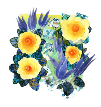 Yellow Roses, Blue Tulips