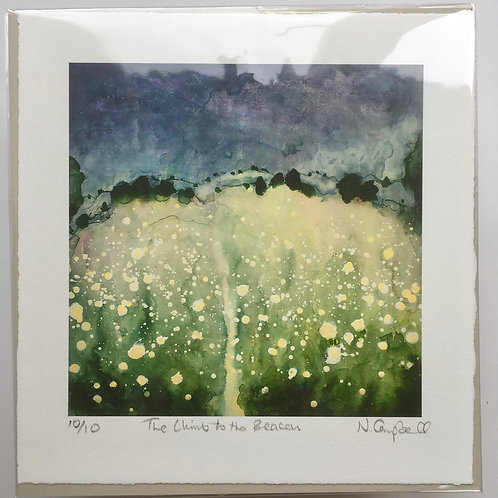 Climb to the Beacon art print of Sussex chalk path and summer meadows