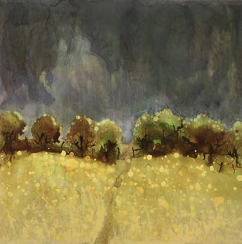Golden fields, Sussex downs,  thunder grey,  storm picture, rain coming, artist print