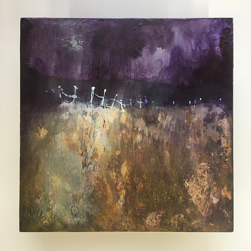 mauve and gold, ochre and purple, ink painting, Sussex art, dark and light
