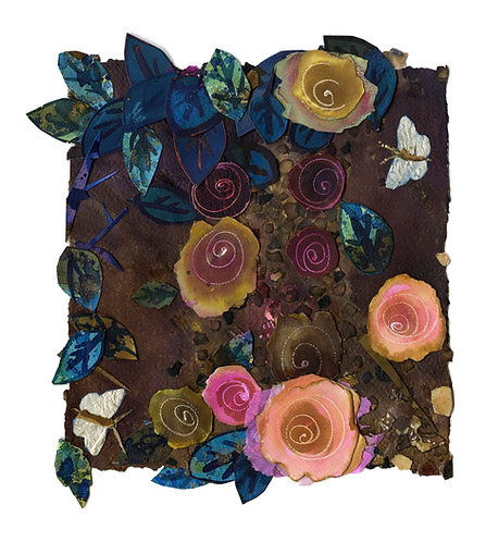 'Small corner of the rose garden, no.1' original ink and mixed media collage