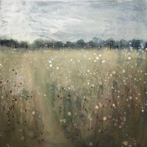 'Wildflower Meadow' wood panel painting