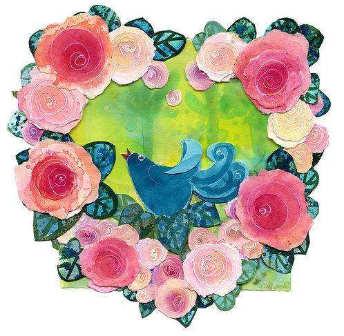 mother gift, bird in garden, pink heart, blue bird, gift for her, garden, mothers day