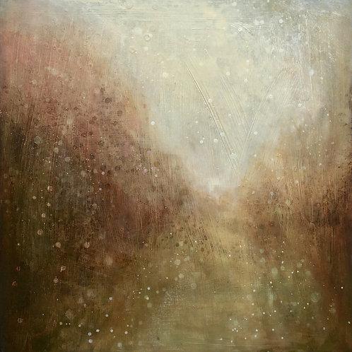 'Woodland path' wood panel painting