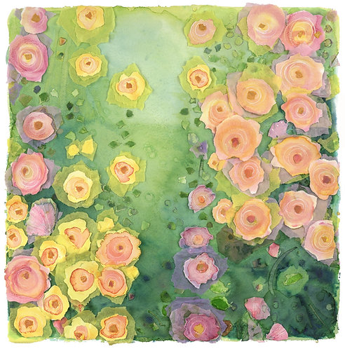 'Way through the flowers' giclee print