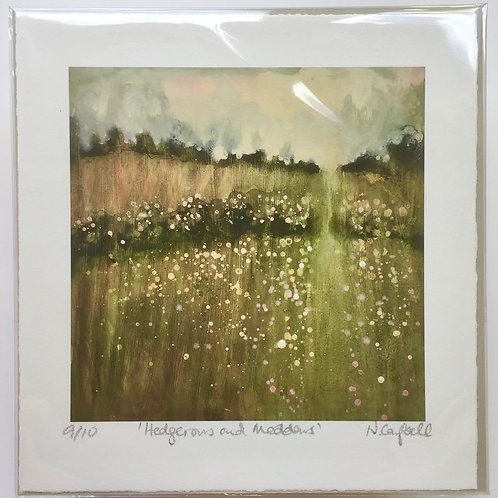 Spring Hedgerows, Spring Meadows,  views of Sussex, British landscape, painting of countryside, gift for him or her them