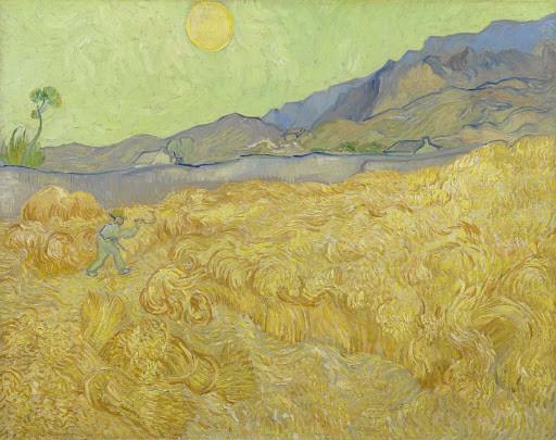 """""""Campo de trigo com ceifeira"""" Van Gogh (1889)"""