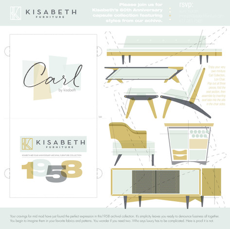 Carl Collection 60th Anniversary Furniture Collection Event Invitation, Save the Date Email Invite, Social Media Kisabeth Furniture