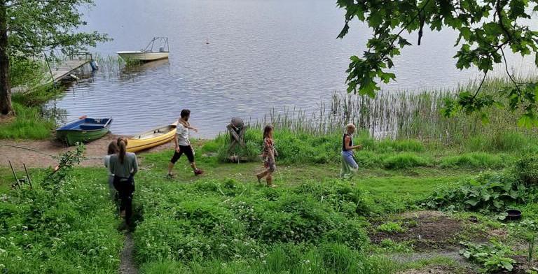 Quete de pantes au bord du lac