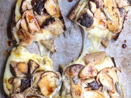 Crostoni alla scamorza, funghi porcini e mosto cotto